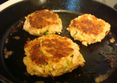 Crab cakes made with scallions from our gardens.
