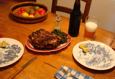 Barbecued ribs, amaranth greens and home-brewed beer.
